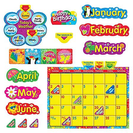 Trend WipeOff Stars/Swirls Calendar Bulletin Board Set - Learning Theme/Subject - Reusable - 1 Set