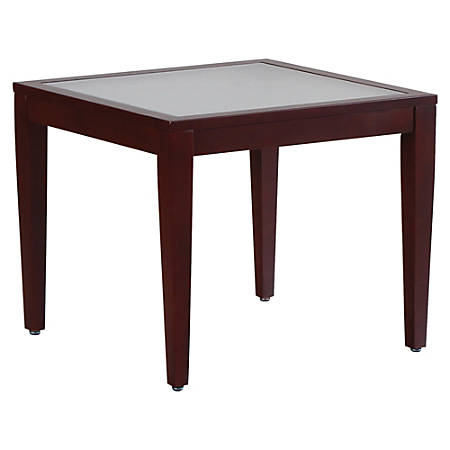Lorell® Glass Top Square Table, Clear/Mahogany