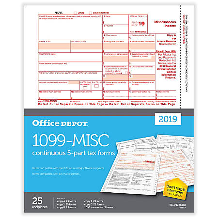 """Office Depot® Brand 1099-MISC Continuous Tax Forms, 5-Part, 9"""" x 11"""", Pack Of 25 Forms"""