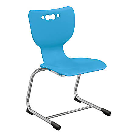 """Hierarchy Stackable Cantilever Student Chairs, 14"""", Blue/Chrome, Set Of 5 Chairs"""