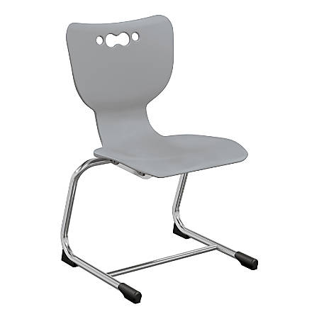 """Hierarchy Stackable Cantilever Student Chairs, 14"""", Grey/Chrome, Set Of 5 Chairs"""