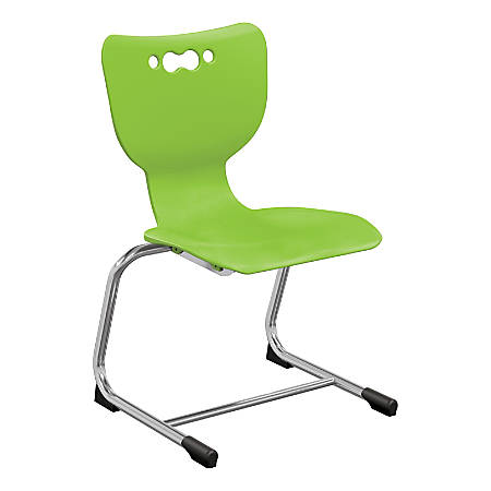"Hierarchy Stackable Cantilever Student Chairs, 14"", Lime/Chrome, Set Of 5 Chairs"
