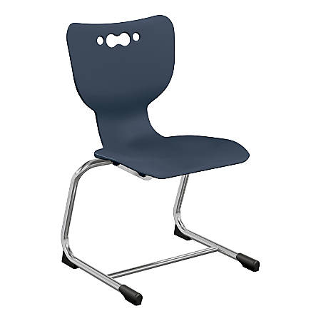 """Hierarchy Stackable Cantilever Student Chairs, 14"""", Navy/Chrome, Set Of 5 Chairs"""