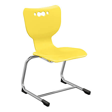 "Hierarchy Stackable Cantilever Student Chairs, 14"", Yellow/Chrome, Set Of 5 Chairs"