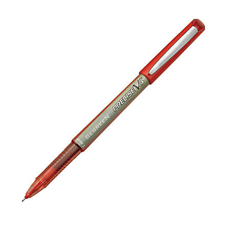 Pilot® Precise V5 BeGreen Rollerball Pens, Extra-Fine Point, 0.5 mm, 89% Recycled, Red Barrel, Red Ink, Pack Of 12 Pens