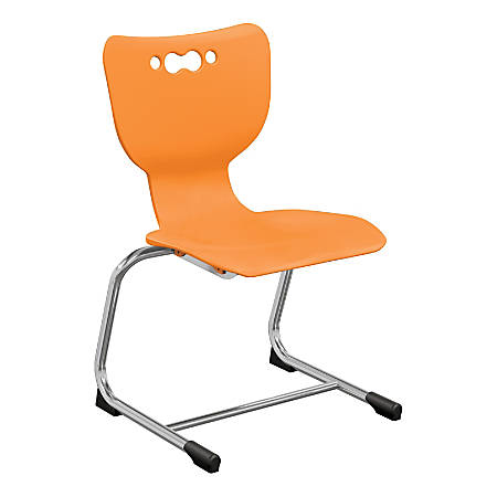 "Hierarchy Stackable Cantilever Student Chairs, 16"", Orange/Chrome, Set Of 5 Chairs"