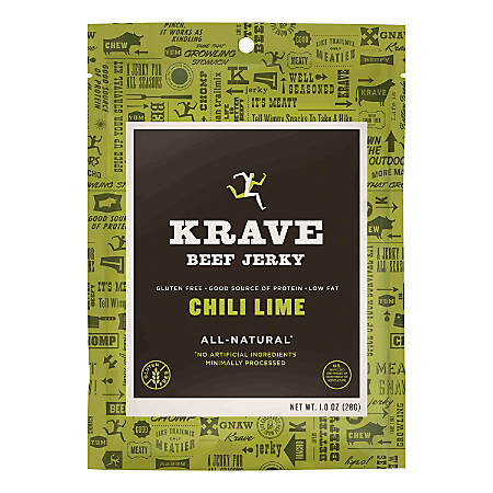 KRAVE Jerky Chili Lime Beef Jerky, 1 Oz, Pack Of 18
