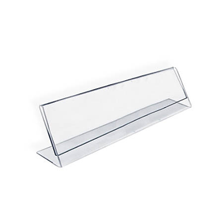 "Azar Displays Acrylic L-Shaped Sign Holders, 2"" x 6"", Clear, Pack Of 10"