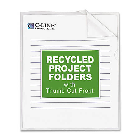 C-Line® Recycled Project Folders, Letter Size, Clear, Box Of 25