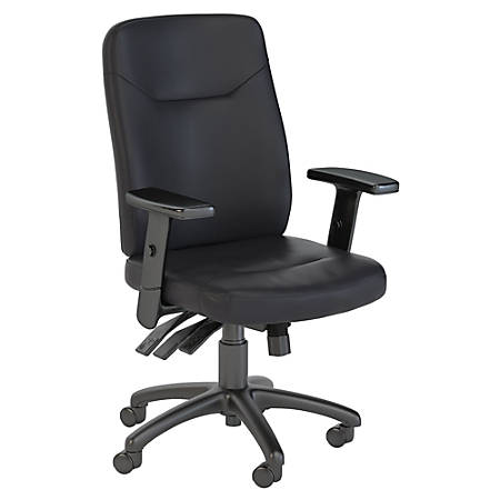Bush Business Furniture Stanton High Back Multifunction Leather Office Chair, Black, Premium Installation