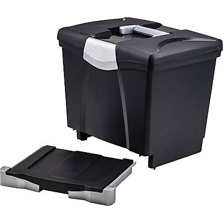 "Storex Portable file Box with Drawer - External Dimensions: 11.5"" Width x 14.3"" Depth x 13"" Height - Latch Lock Closure - Plastic - Black - For Document, Pen/Pencil, File, Letter - Recycled - 1 / Carton"