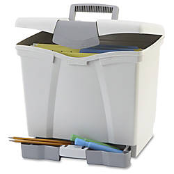 "Storex Portable file Box with Drawer - External Dimensions: 11.5"" Width x 14.3"" Depth x 13"" Height - Latch Lock Closure - Plastic - Black - For Document, Pen/Pencil, File, Letter - Recycled - 1 / Carton Item # 922482 