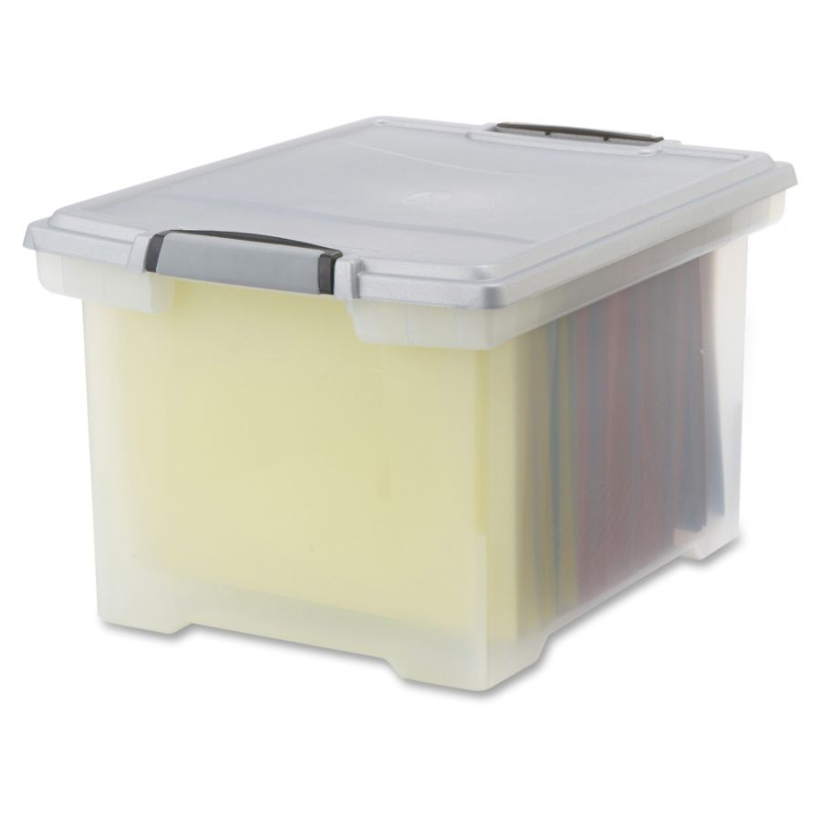 Storex Tote Clear Storage Box with Lid Internal Dimensions 1450