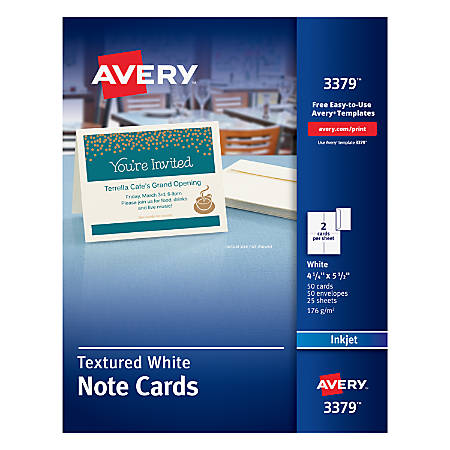 """Avery® Confetti-Textured Heavyweight Note Cards, 4 1/4"""" x 5 1/2"""", Pack Of 50"""