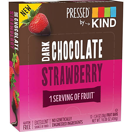 KIND Pressed Dark Chocolate Fruit Bars - Gluten-free, Individually Wrapped, Trans Fat Free, Low Sodium, Low Fat - Dark Chocolate Strawberry - 1.34 oz - 12 / Box
