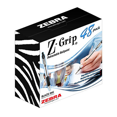 Zebra® Z-Grip™ Retractable Ballpoint Pens, Medium Point, 1.0 mm, Clear Barrel, Black Ink, Pack Of 48