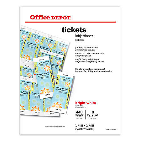"Office Depot® Brand Inkjet/Laser Tickets, 5 1/2"" x 2 1/8"", Bright White, Pack Of 440"