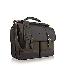 Solo Thompson 156 Laptop Briefcase BrownOlive