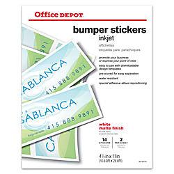Office Depot® Brand Inkjet Bumper Stickers, Matte, 4 1/4