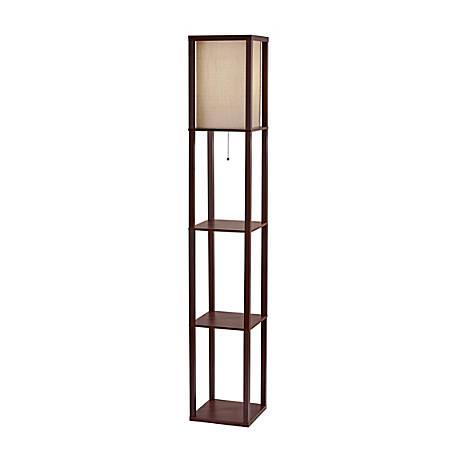 "Adesso® Wright Shelf Lamp, 63""H, Natural Shade/Walnut Base"