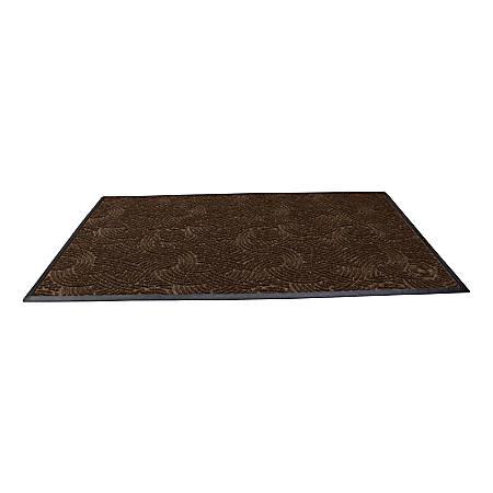 "Waterhog Plus Swirl Floor Mat, 48"" x 96"", 100% Recycled, Chestnut Brown"