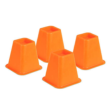 """Honey-Can-Do Plastic Bed Risers, 6""""H x 6 1/2""""W x 6 1/2""""D, Orange, Pack Of 4"""