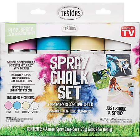 Testors 4-Color Washable Spray Chalk Set, 6 Oz Cans, Assorted Colors