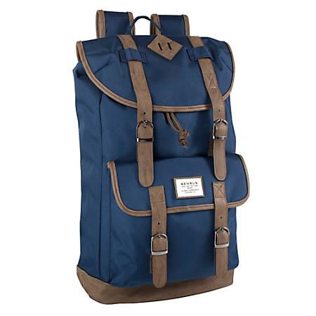 """Trailmaker Buckled Backpack With 17"""" Laptop Pocket, Blue/Brown"""