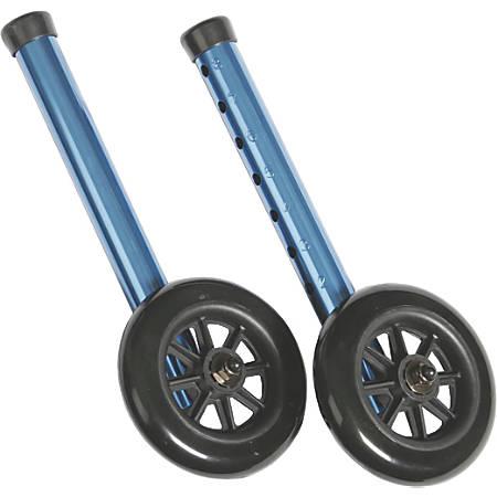 """Medline Adult Folding Paddle Walker, 5"""" Wheels, Blue"""