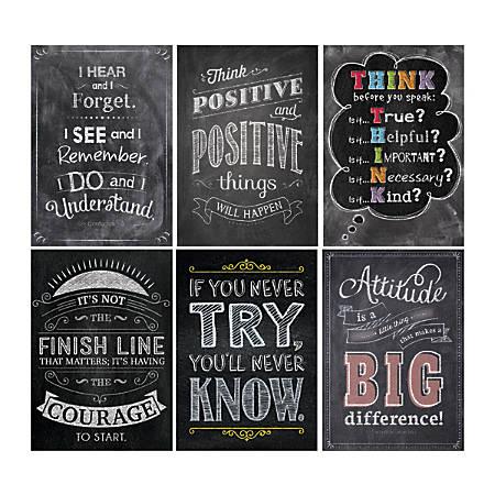 "Creative Teaching Press® Inspire U Posters, Chalk, 13 3/8"" x 19"", Pack Of 6"