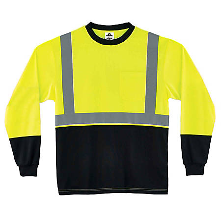 Ergodyne GloWear 8291BK Type-R Class 2 Long-Sleeve T-Shirt, Large, Black/Lime
