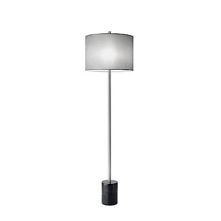 "Adesso® Blythe Floor Lamp, 62""H, Gray Shade/Black Base"