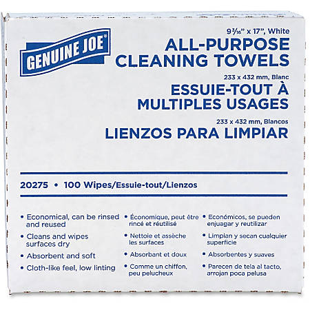Genuine Joe All-Purpose Cleaning Towels, Box Of 100