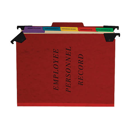 """Pendaflex® Hanging Style Personnel Folders, 2"""" Exp., 9 1/2"""" x 11 3/4"""", Red"""