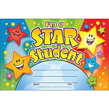 "Trend I'm a Star Student Recognition Awards - 8.50"" x 5.50"" - Multicolor1 / Pack"