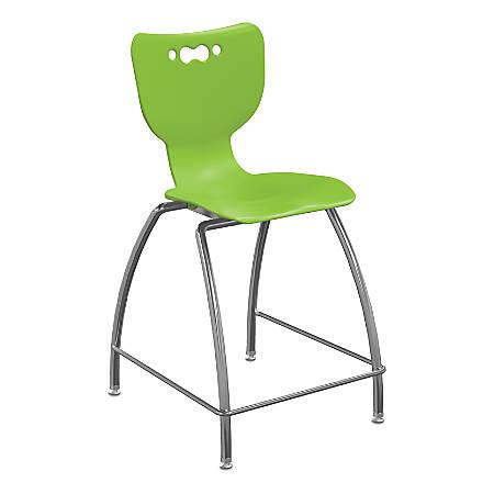 "Hierarchy 4-Leg School Stool, 24"", Green/Chrome"