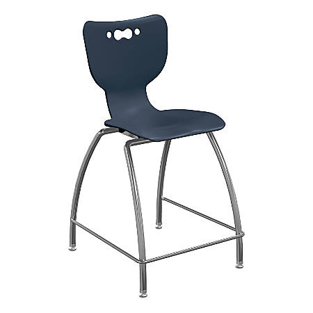 "Hierarchy 4-Leg School Stool, 30"", Navy/Chrome"