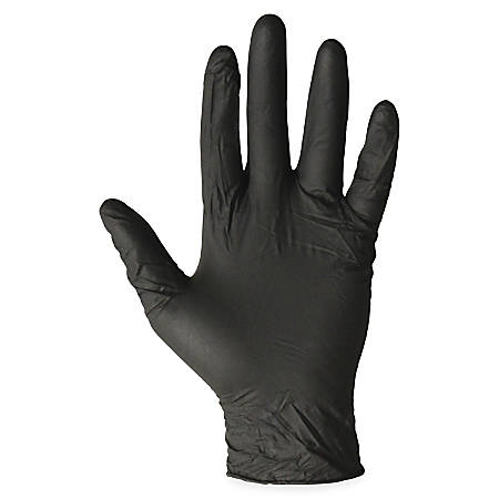 ProGuard Disposable Nitrile General Purpose Gloves - X-Large Size - Nitrile - Black - Ambidextrous, Disposable, Powder-free, Beaded Cuff - For Cleaning, Chemical, Small/Sharp Object Handling, Material Handling, General Purpose - 1000 / Carton