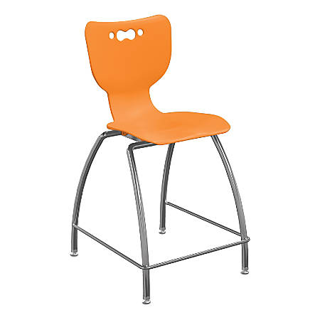 "Hierarchy 4-Leg School Stool, 30"", Orange/Chrome"