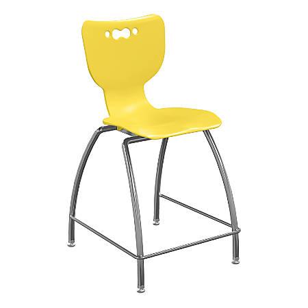 "Hierarchy 4-Leg School Stool, 30"", Yellow/Chrome"