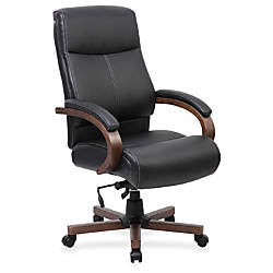 Lorell Executive Bonded LeatherWood Chair BlackWalnut