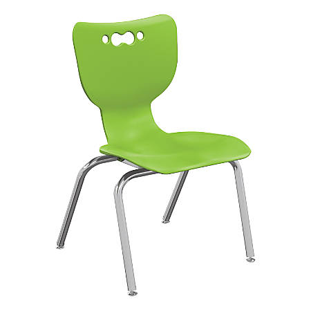 """Hierarchy 4-Leg Stackable Student Chairs, 14"""", Lime/Chrome, Set Of 5 Chairs"""