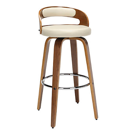 OFM 161 Collection Mid-Century Modern Low-Back Swivel Stool, Walnut/Ivory
