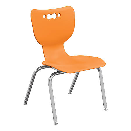 """Hierarchy 4-Leg Stackable Student Chairs, 16"""", Orange/Chrome, Set Of 5 Chairs"""