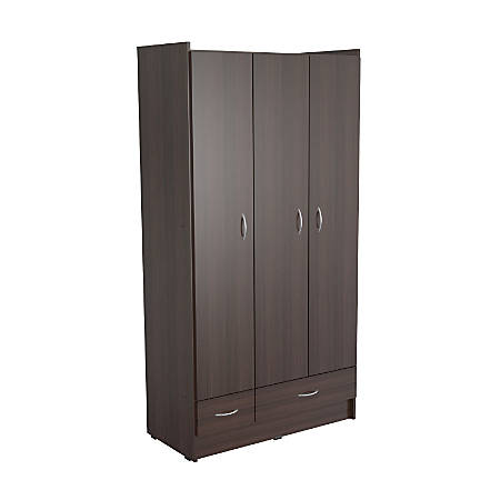 Inval 3 Door Wardrobe Armoire, Espresso-Wengue