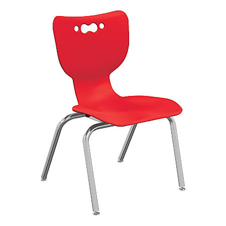 """Hierarchy 4-Leg Stackable Student Chairs, 18"""", Red/Chrome, Set Of 5 Chairs"""