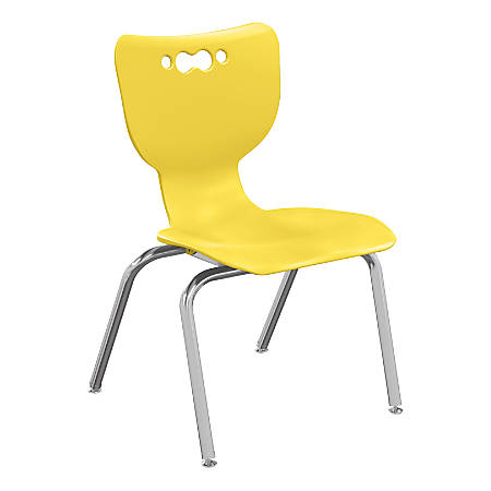 """Hierarchy 4-Leg Stackable Student Chairs, 18"""", Yellow/Chrome, Set Of 5 Chairs"""