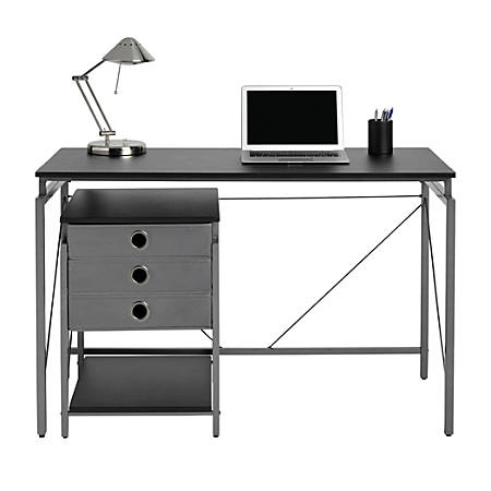 Brenton Studio® Achiever Contemporary Metal Desk With File, Black