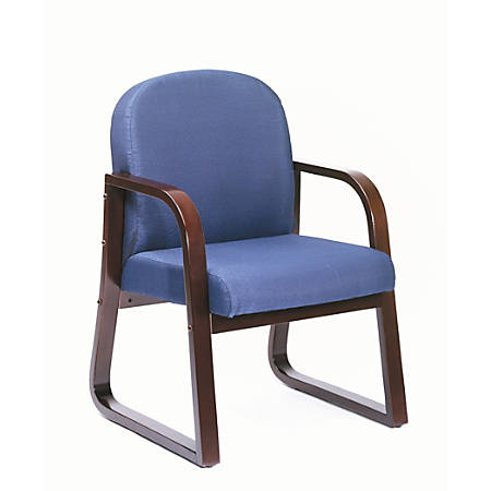 "Boss® Reception Room Chair, 34""H x 24""W x 22 1/2""D, Mahogany/Blue"
