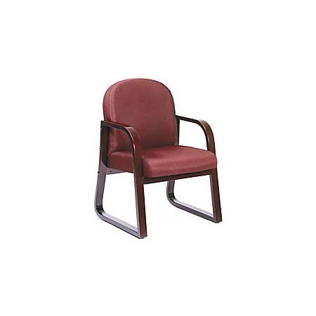 "Boss® Wood Reception Room Chair, 34""H x 24""W x 22 1/2""D, Mahogany Frame, Burgundy Fabric"